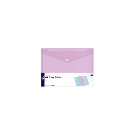 A4 Folders with Popper Fastening - Pack of 4 Pastel colours