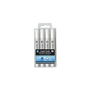 Liquid Chalk Window Markers x 4 - White