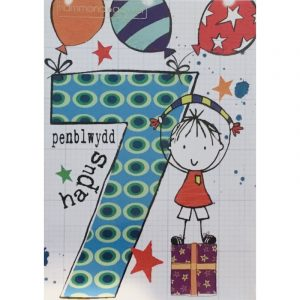 Penblwydd Hapus 7 Blue Party Boy Card