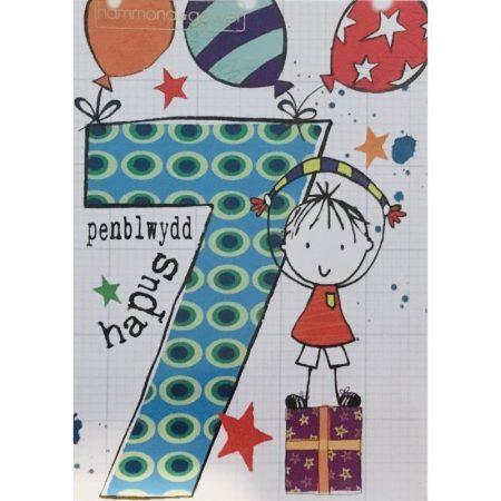 Penblwydd Hapus 7 Blue Party Boy Card