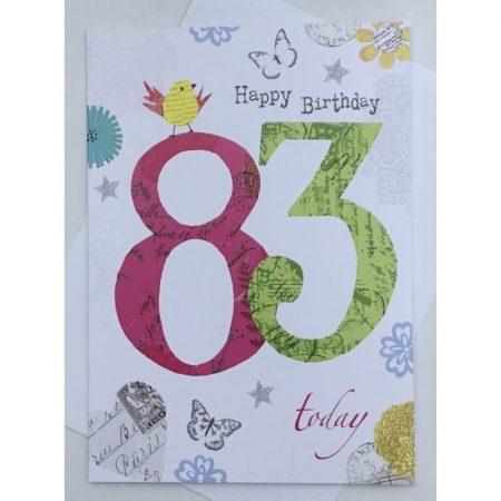 Happy Birthday 83 Today Age Card