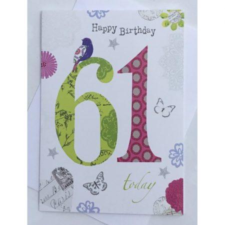 Happy Birthday 61 Today Age Card