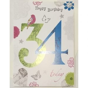 Happy Birthday 34 Today Age Card