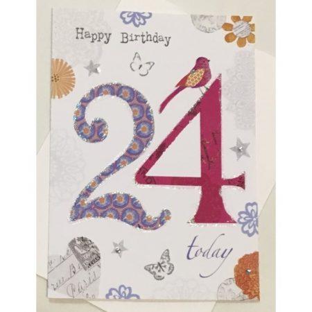 Happy Birthday 24 Today Age Card
