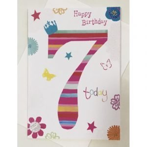 Happy Birthday 7 Today Pink Age Card