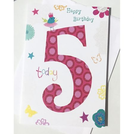 Happy Birthday 5 Today Pink Age Card