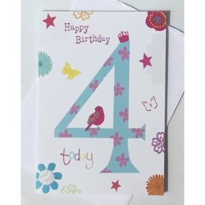 Happy Birthday 4 Today Age Card
