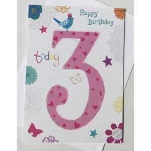 Happy Birthday 3 Today Pink Age Card