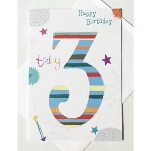 Happy Birthday 3 Today Blue Stripes Card