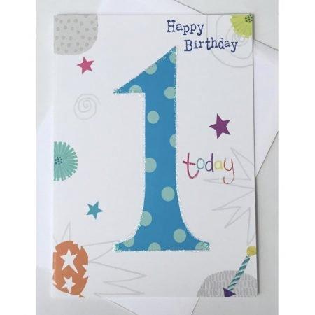 Happy Birthday 1 Today Blue Age Card