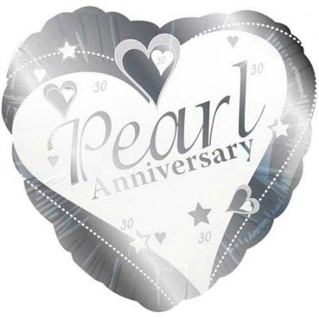 18 inch Happy Pearl Anniversary Heart Balloon