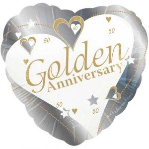 18 inch Golden Anniversary Heart Balloon