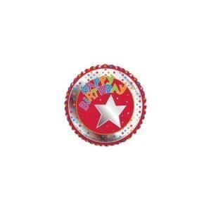 18 inch Happy Birthday Balloon Red and Silver Star