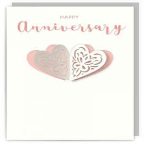 Happy Anniversary Pink and White Hearts Card