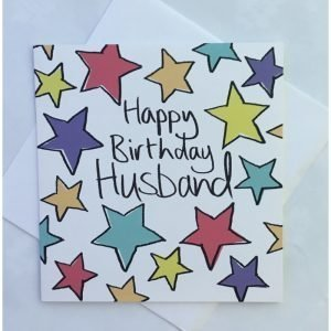 Happy Birthday Husband Coloured Stars Card