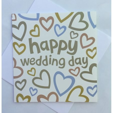 Happy Wedding Day Coloured Hearts Card