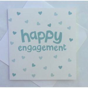 Happy Engagement Teal Hearts Card