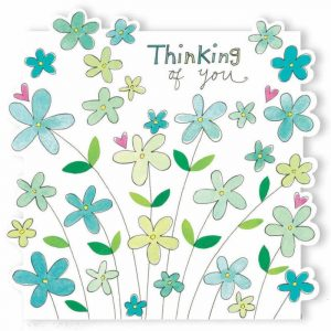 Rachel Ellen Thinking Of You Teal Flowers Card