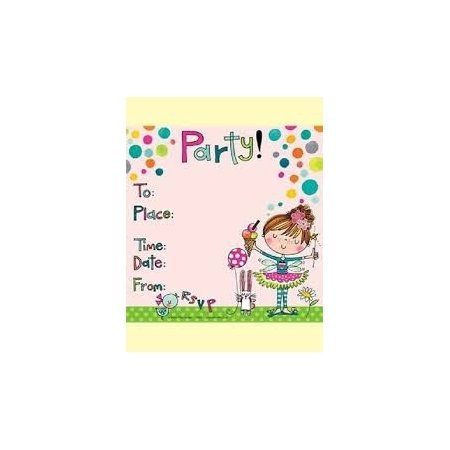 Rachel Ellen Pack of 8 Party Invitations - Girl With Ice Cream