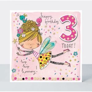 Rachel Ellen Happy Birthday 3 Today Hip Hip Hooray Card