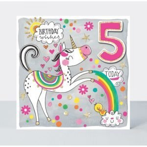 Rachel Ellen Birthday Wishes 5 Today Unicorn & Rainbow Card