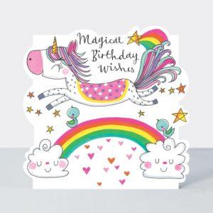 Rachel Ellen Magical Birthday Wishes Unicorn and Rainbow (Cloud) Card