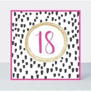 Rachel Ellen 18 Pink Fizz Black Spots Card