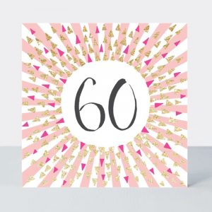 Rachel Ellen 60 Pink & Gold Triangles Card