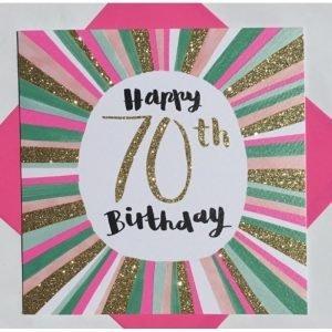 Rachel Ellen Happy 70th Birthday Pink & Gold Sparkly Stripes Card