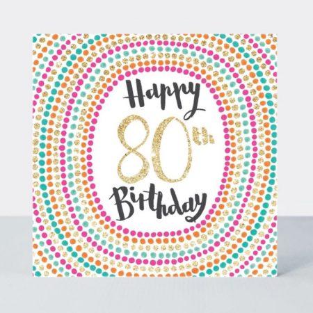Rachel Ellen Happy 80th Birthday Pink & Gold Sparkly Spots Card