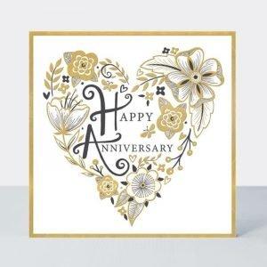 Rachel Ellen Happy Anniversary Black and Gold Floral Heart Card