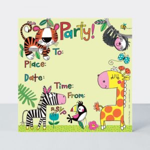 Rachel Ellen Pack of 8 Party Invitations - Jungle