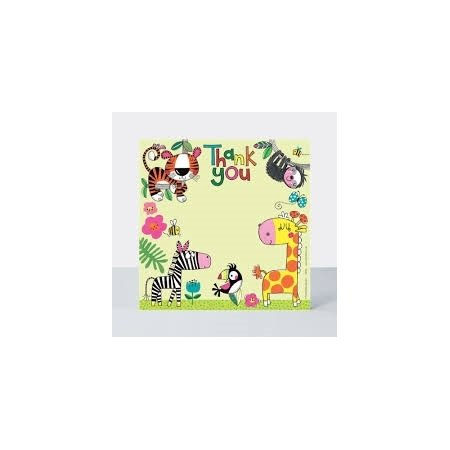 Rachel Ellen Pack of 8 Thank You Cards - Jungle