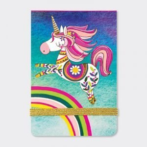 Rachel Ellen A7 Lined Mini Notepad - Unicorn and Rainbow