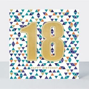 18 Happy Birthday Blue Triangles Card