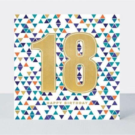 18 Happy Birthday Blue Triangles Card