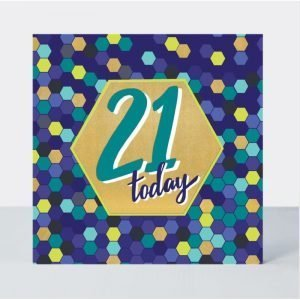 Rachel Ellen 21 Today Blue Hexagons Card