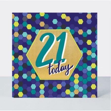 Rachel Ellen 21 Today Blue Hexagons Card