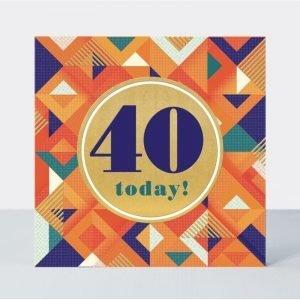 Rachel Ellen 40 Today! Orange Geometric Card