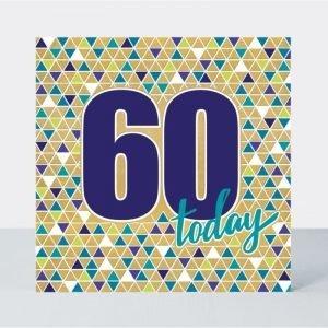 Rachel Ellen 60 Today Blue Triangles Card