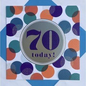 Rachel Ellen 70 Today! Blue, Orange & Teal Spots Card