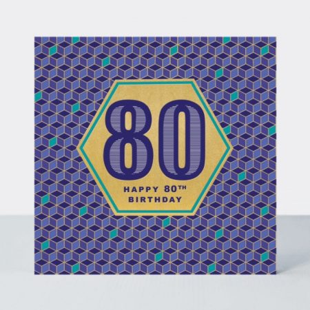 Rachel Ellen Happy 80th Birthday Gold Hexagon Card