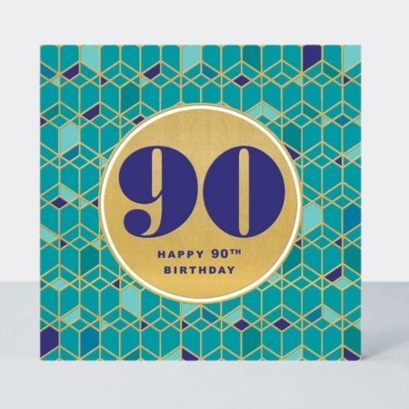 Rachel Ellen Happy 90th Birthday Teal & Gold Card