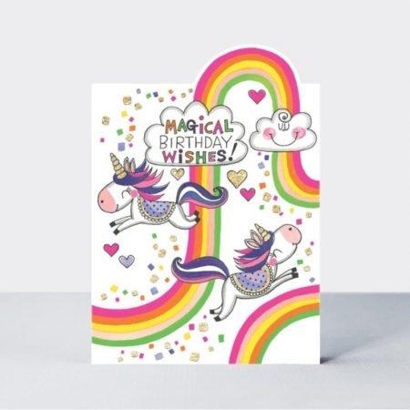 Rachel Ellen Magical Birthday Wishes Unicorns and Rainbows (Cherry) Card