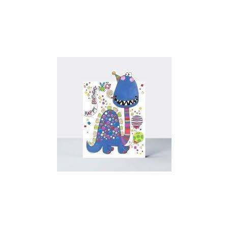 Rachel Ellen Happy Birthday Blue Dinosaur Card