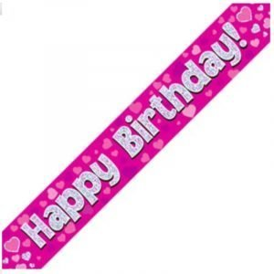 Pink Holographic Banner - Happy Birthday