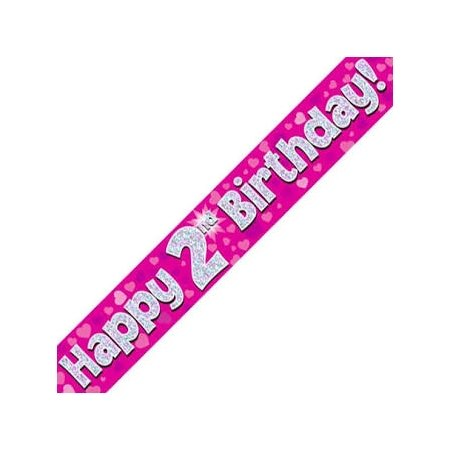 Pink Holographic Banner - Happy 2nd Birthday