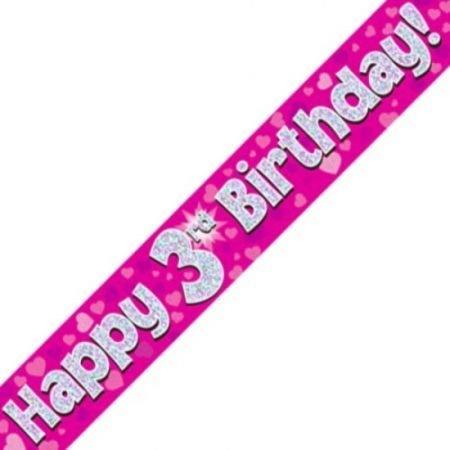 Pink Holographic Banner - Happy 3rd Birthday
