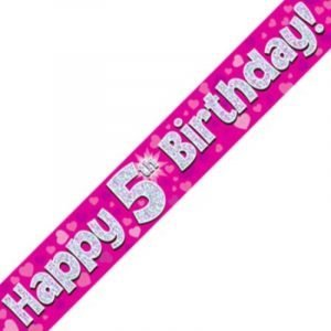 Pink Holographic Banner - Happy 5th Birthday