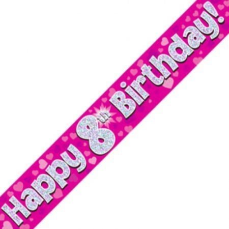 Pink Holographic Banner - Happy 8th Birthday
